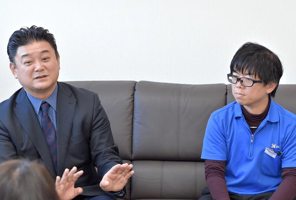 左 株式会社イノウエ 代表取締役社長 井上毅 様 右 総務部 課長 井上博信 様